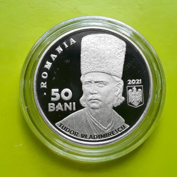 50 Bani 2021 PROOF , 200 de ani de la Revoluția din 1821 Tudor Vladimirescu UNC