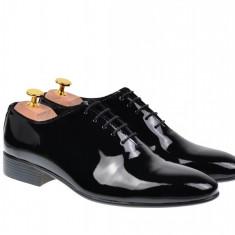 Pantofi barbati negri lacuiti, eleganti din piele naturala lacuita - 024NLAC
