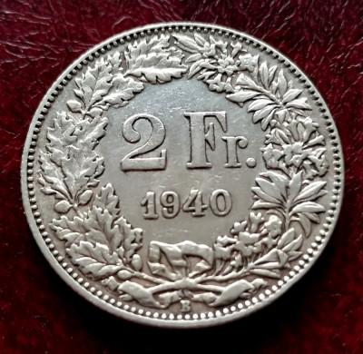 ELVETIA - 2 Franci 1940 B ( Francs - Franken ) Argint foto