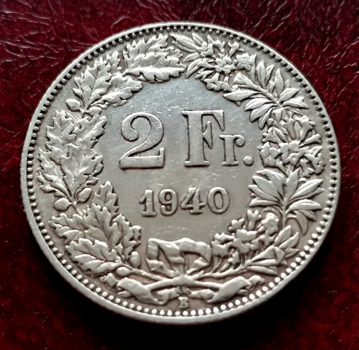 ELVETIA - 2 Franci 1940 B ( Francs - Franken ) Argint