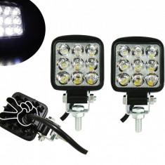 Set Mini Proiector LED Auto Offroad 27W 12V-24V, Patrat