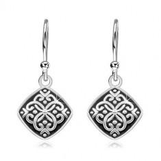 Cercei lungi din argint 925, romb cu smalț negru și ornamente