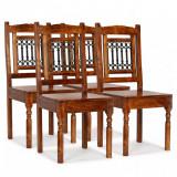 vidaXL Scaune de masă 4 buc, lemn masiv cu finisaj palisandru, clasic