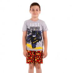 Pijama baieti Lego Batman Just Another Day at Work gri