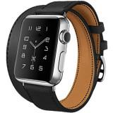 Curea pentru Apple Watch 44mm piele iUni Double Tour Negru
