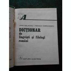 JANA BALACCIU - DICTIONAR DE LINGVISTI SI FILOLOGI ROMANI (1978, ed. cartonata)