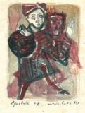 Cumpara ieftin Aquatinta si acuarela Liviu Rusu 1981 dimensiune 11.5x17 cm, Portrete, Fresca, Altul