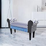 Bancă patchwork rustică albastru & alb, vidaXL