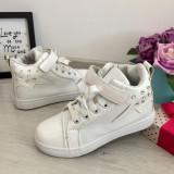Adidasi albi lac cu strasuri scai tenisi ghete sport copii fete 32