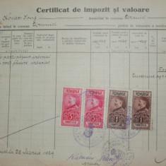 D22 Certificat fiscal 1929cu timbre fiscale Ferdinand-efigia in cerc