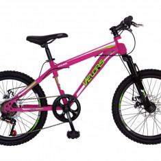 Bicicleta MTB HT copii 20 FIVE Bonsly cadru otel culoare fucsia verde varsta 7 10 ani