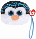 Gentuta de mana din plus TY 10 cm - Pinguinul Waddles cu paiete