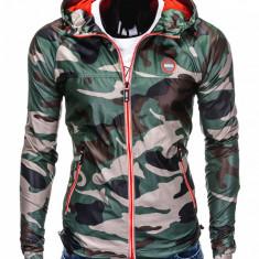 Jacheta pentru barbati din fas stil militar army slim fit cu fermoar si gluga C352 camuflaj verde