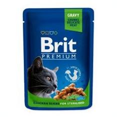 Pliculeț BRIT Premium Cat Chicken Slices for Sterilised 100 g