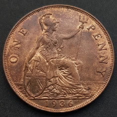 ANGLIA One 1 Penny 1936 George V aUNC KM #838