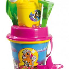 Troller cu ghiozdanel Filly Androni pentru copii cu jucarii plaja si nisip si galetusa