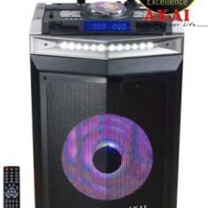 Boxa Audio Portabila Akai DJ-6112BT cu DJ mixer, activa, Bluetooth, dual USB, radio, microfon wireless, telecomanda si mufa intrare chitara, 120W (Neg