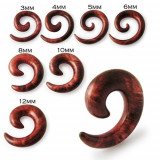Expander spirală pentru ureche, model de lemn maro - Lățime: 6 mm
