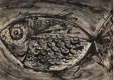 Cumpara ieftin Grafica Peste, semnat Perahim, tehnica mixta, 23x33 cm, Animale, Cerneala, Impresionism