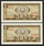 Romania, 2 buc. 1 leu 1966 aUNC_fara pliuri_serie consecutiva A.0029_697845/46
