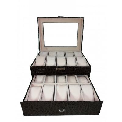 Cutie depozitare 20 ceasuri piele ecologica - imprimeu crocodil foto