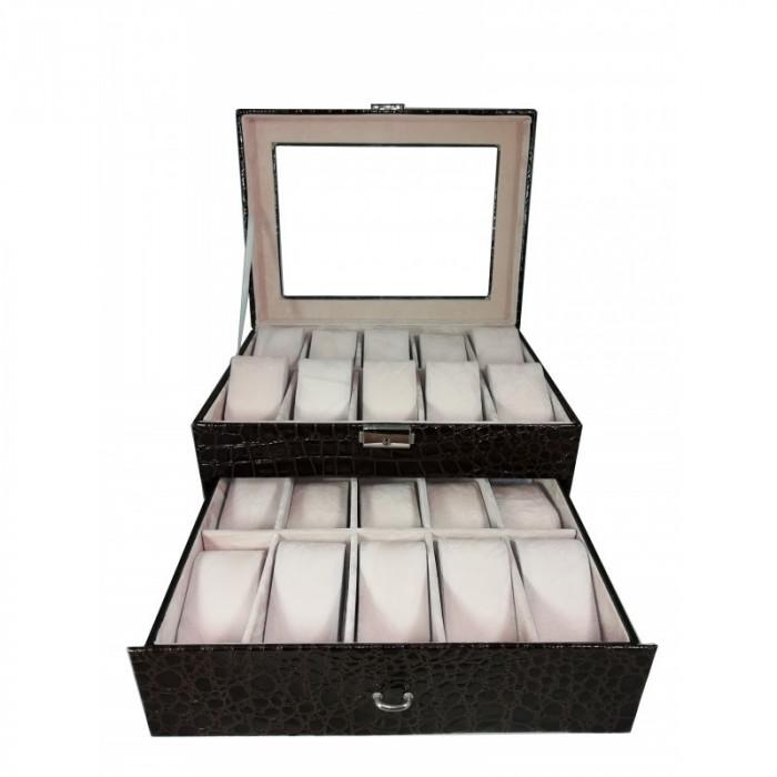 Cutie depozitare 20 ceasuri piele ecologica - imprimeu crocodil