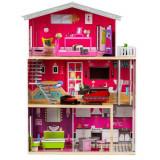Jucarie Casa Mare Malibu din Lemn pentru Papusi cu 3 Etaje, Lift si 10 Piese Mobilier + Cadou Papusa Barbie pentru Copii