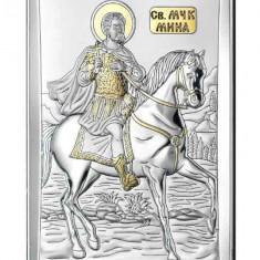 Icoana Argint Sfantul Mina cu Auriu 9x15cm Cod Produs 2785