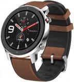 Cumpara ieftin Smartwatch Huami Amazfit GTR, Display AMOLED 1.39inch, Bluetooth, GPS, Bratara Piele 47mm, Android/iOS (Maro/Negru)