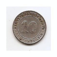 Malaysia - Straits Settlements 10 Cents 1918 - Argint 2.71 g/400, 18 mm KM-29a