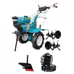 Motocultor DKD HS 1000B, roti metalice, plug arat