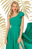 Bluza eleganta Pretty Girl verde cu volanas la umar