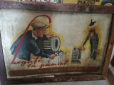 "Afis romanesc pe tabla comunism protectia muncii ""Legati la pamant utilajele"""
