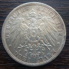 (A735) MONEDA DIN ARGINT GERMANIA, PRUSIA - 3 MARK 1912, LIT. A, WILHELM II