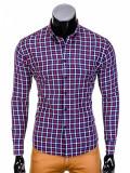 Camasa pentru barbati, bleumarin-rosu, in carouri, slim fit, elastica, casual, cu guler - k387