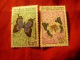 2 Timbre Noua Caledonie colonie franceza -1967 Fluturi , val. 7 si 9fr stamp., Stampilat