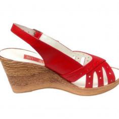Sandale dama din piele naturala cu platforma - S89ROSU