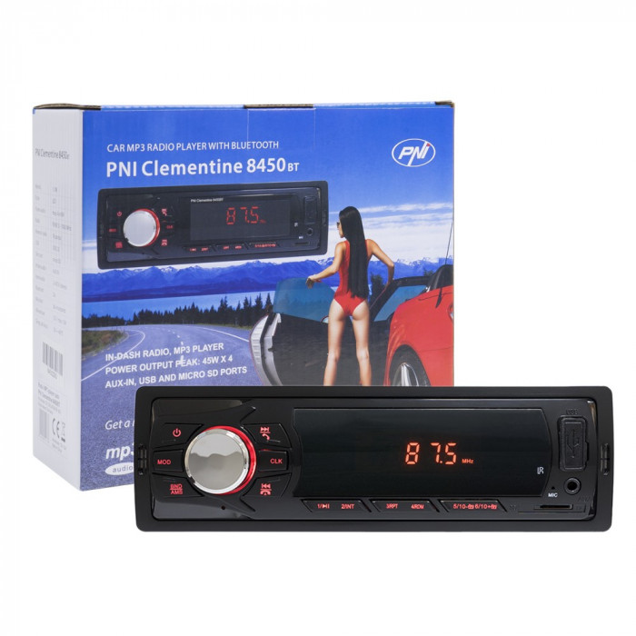 Resigilat : Radio MP3 player auto PNI Clementine 8450BT 4x45w 1 DIN cu SD, USB, AU