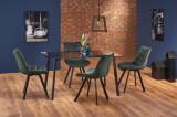 Cumpara ieftin Set masa din sticla si metal Trax Negru + 4 scaune tapitate cu stofa K332 Verde inchis, L140xl80xH75 cm