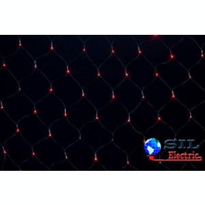 Perdea luminoasa tip plasa 160 LED-uri rosii cu jocuri de lumini cablu negru WELL
