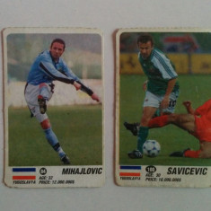 Lot 2 cartonașe fotbal - EURO 2000, jucători Iugoslavia (Mihajlovic, Savicevic)
