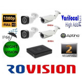 Cumpara ieftin Kit 4 camere supraveghere 2MP Full HD AHD 1080p, Exterior + DVR 4 canale 5MP