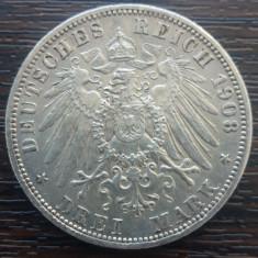 (A731) MONEDA DIN ARGINT GERMANIA, PRUSIA - 3 MARK 1908, LIT. A, WILHELM II