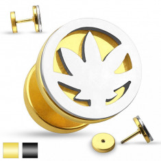 Plug fals pentru ureche realizat din oţel - decupaj frunză de canabis în nuanţă argintie - Culoare Piercing: Negru - K