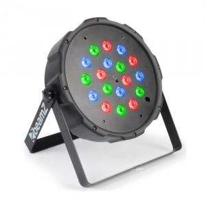 Beamz FlatPAR 118B, 18 X 1W, PAR-reflector, RGB, LED, DMX, IR, telecomandă