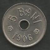 ROMANIA 5 BANI 1906 , litera J - Monetaria Hamburg [6] XF , in cartonas, Cupru-Nichel