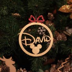 Ornament Brad Funda Rosie si Fulg de Zapada cu Sclipici - Personalizat