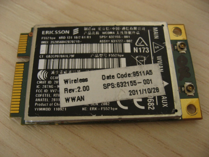 Modul 3g laptop HP EliteBook 2560p, WWAN hs2340, ERICSSON F5521gw, 632155-001