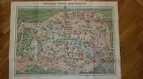 Plan harta dubla PARIS monumente turistica environs 3D filigran interbelica RARA