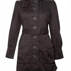 Jacheta lunga bumbac Fashion Addict, de dama, Negru